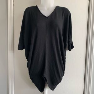 Black Dolman Sleeved Tunic With Cut Out Back